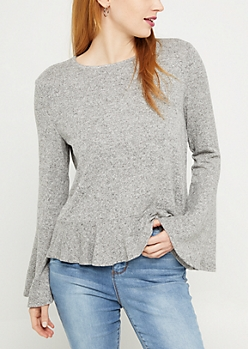 Heather Gray Flounced Sweater
