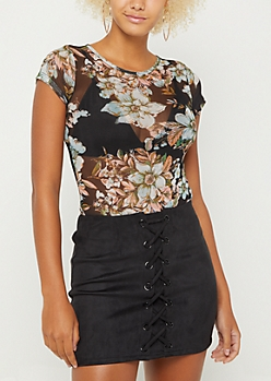 Black Floral Mesh Bodysuit