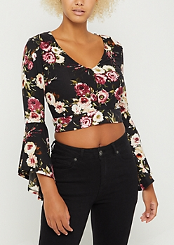 Black Wildflower Tie Back Crop Top