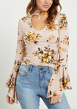 Pink Floral Cutout Keyhole Top