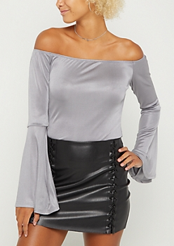 Silver Off Shoulder Bell Sleeve Top