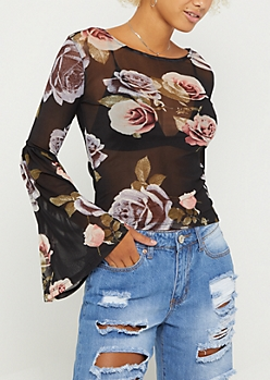 Floral Mesh Bell Sleeve Top