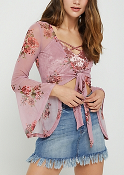 Pink Floral Knotted Bell Sleeve Top