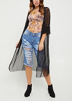 Black Sheer Mesh Duster Kimono