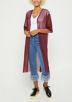 Burgundy Sheer Mesh Duster Kimono