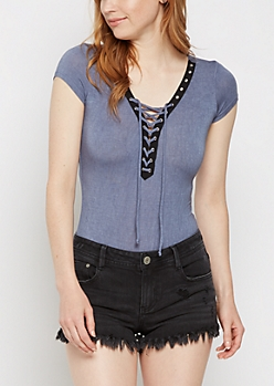 Blue Lace Up Grommet Bodysuit