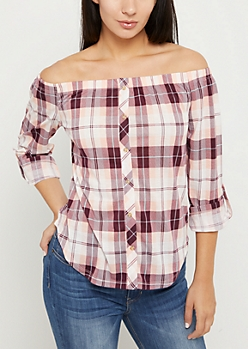 Pink Plaid Button Down Off Shoulder Top