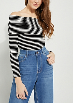 Black Striped Fold Off Shoulder Top