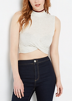 Heather Gray Twisted Mock Neck Crop Top
