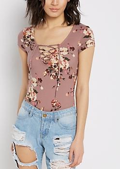 Lavender Floral Lace-Up Bodysuit