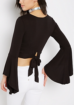 Black Cropped Bell Sleeve Shirt