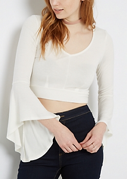 White Crop Bell Sleeve Shirt