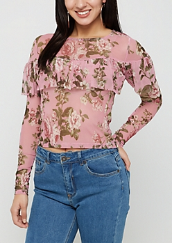 Pink Floral Ruffled Mesh Top