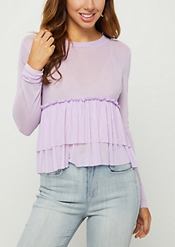 Mesh Babydoll Crop Top