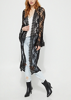 Black Sheer Floral Lace Duster