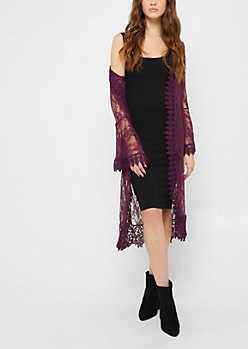 Purple Sheer Floral Lace Duster