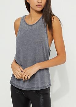 Charcoal Gray Burnout Cut Back Soft Knit Muscle Tank