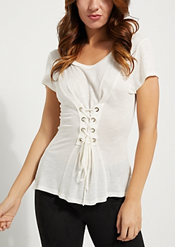 White Lace Up Corset Short Sleeve Knit Tee