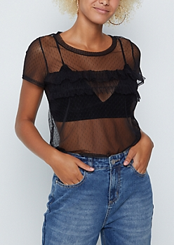 Swiss Dotted Sheer Top