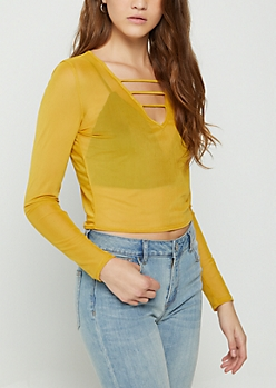 Mustard Caged Mesh Crop Top
