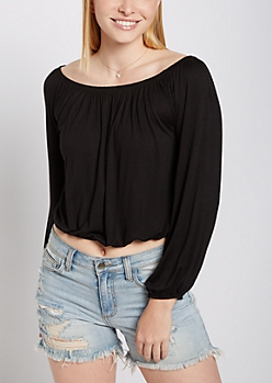 Black Long Sleeve Off Shoulder Top
