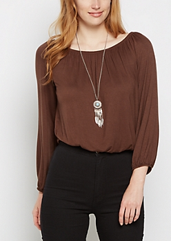 Brown Long Sleeve Off Shoulder Top