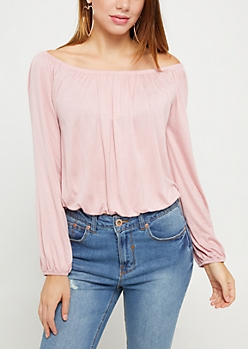 Light Pink Long Sleeve Off Shoulder Top