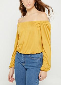 Mustard Long Sleeve Off Shoulder Top