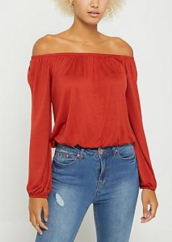 Burnt Orange Long Sleeve Off Shoulder Top