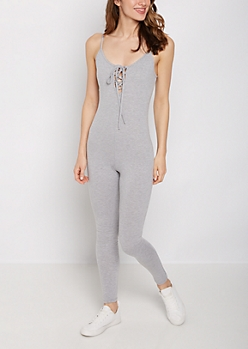 Heather Gray Cross-Strap Cami Unitard