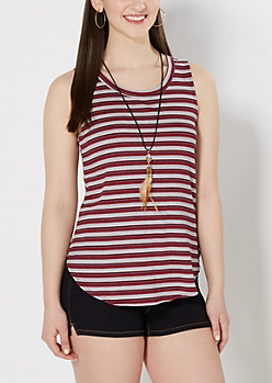 Red Striped Feather Necklace Tank Top