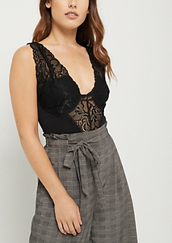 Black Lace Tank Bodysuit