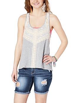 Heather Grey Lace High-Low Tank Top
