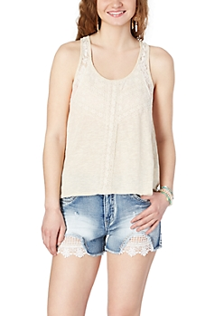 Oatmeal Heather Lace High-Low Tank Top