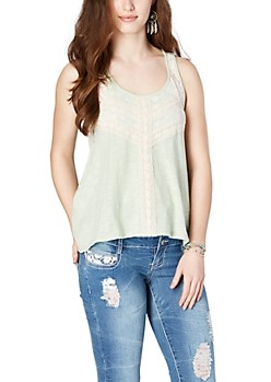 Light Green Lace High-Low Tank Top