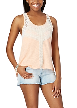Peach Lace High-Low Tank Top