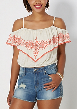 Ivory Boho Off Shoulder Top by Clover + Scout®