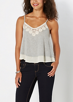 Floral Crochet Trimmed Tank by Coco + Jameson®