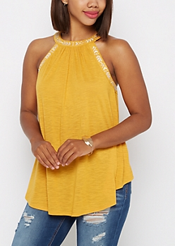 Mustard Tribal High Neck Tank by Clover + Scout®