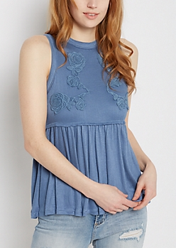 Blue Rose Embroidered Babydoll Tank by Clover + Scout