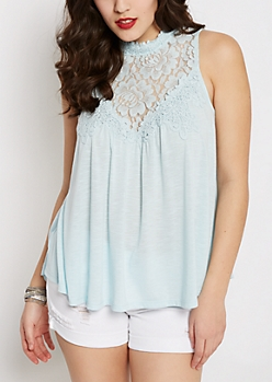 Pale Blue Crochet Yoke Babydoll Tank by Clover + Scout