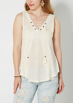 Ivory Eyelet Inset Lace-Up Tank by Clover + Scout®