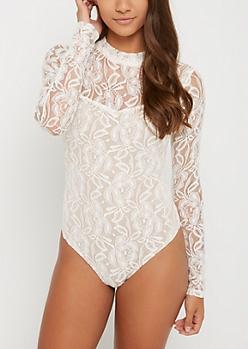 Floral Lace High Neck Bodysuit