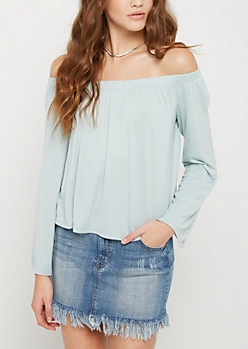 Light Blue Knit Off Shoulder Shirt