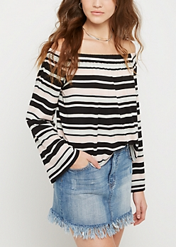 Striped Knit Off Shoulder Shirt