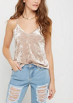 Gray V Neck Velvet Cami