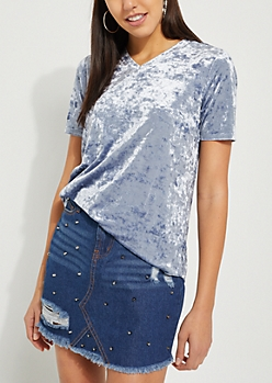 Crushed Velvet V Neck Tee
