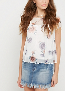 White Floral Sheer Tee