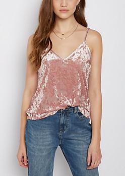 Pink Crushed Velvet Cami