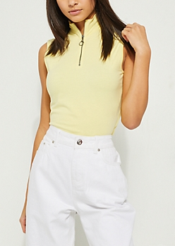 Yellow Zipper Crop Tank